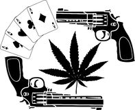 Cards, hemp and two pistols Stock Photography