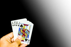 Cards holding by hand Royalty Free Stock Images
