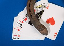 Cards and horseshoe Stock Image