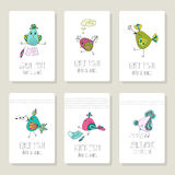 Cards with the image of birds in different actions Stock Images