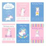 Cards inbjudningar Planlägg mallkort med bilder av gulliga enhörningar royaltyfri illustrationer