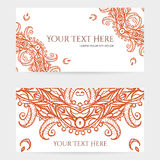 Cards with Intricate Henna Patterns Royalty Free Stock Photos
