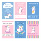 Cards invitations. Design template cards with pictures of cute unicorns. Animal character, fairytale horse, fantasy creature in poster for birthday. Vector royalty free illustration