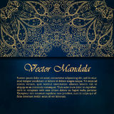 Cards or invitations with mandala pattern. Vector vintage hand-drawn highly detailed round mandala elements. Luxury lace festive ornament card. Islam, Arabic Stock Images