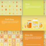 Cards with jars of honey. Vector set. Business cards in flat design with jars of honey and place for text. Set of horizontal vector banners royalty free illustration