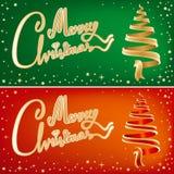 cards jul två Royaltyfri Fotografi