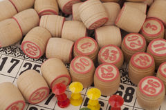 Cards and kegs for Russian lotto bingo game Royalty Free Stock Images