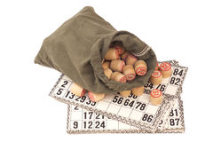 Cards and kegs for Russian lotto (bingo game) Stock Image