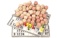 Cards and kegs for Russian lotto bingo game Royalty Free Stock Photos
