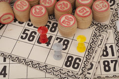 Cards and kegs for Russian lotto bingo game Stock Images