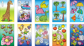 Cards for kids, figures, teaching, training, mathematics Royalty Free Stock Images
