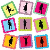 Cards with kids silhouettes on it Royalty Free Stock Photo