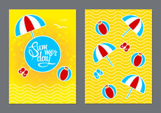 Cards with lettering summer day. Front and back template. Illustration Stock Images