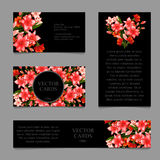 Cards with lilies and frame text on a black Royalty Free Stock Photo