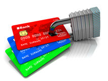 Cards and lock. 3d illustration of credit cards and lock Stock Photo