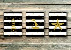 Cards mallen Vektoruppsättning i marin- stil Berömdesign greeting lyckligt nytt år för 2007 kort Ljus inom dig - citationstecken vektor illustrationer