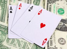 Cards on money background Stock Images