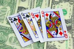 Cards on money background Royalty Free Stock Photo