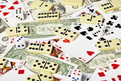 Cards, money, dominoes and dices. Playing cards, money, dominoes and dices Stock Photography