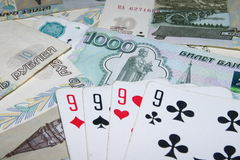 Cards are on the money Stock Images