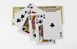 Cards and money Royalty Free Stock Photography