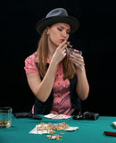 Cards, the money, two pistols Royalty Free Stock Photography