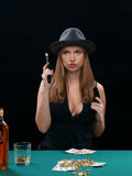 Cards, the money, two pistols Royalty Free Stock Image