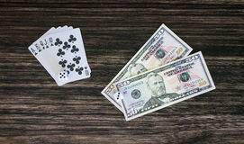 Cards and money Stock Image