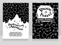 Cards for mountaineering with mountain silhouette on starry sky Royalty Free Stock Photo