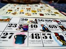 The cards of the Neapolitan bingo stock images