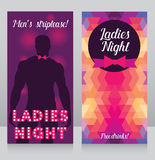 Cards for night club with sexy man's silhouette. Template for ladies night party invitation, cards for night club with sexy man's silhouette, vector illustration Royalty Free Stock Photo