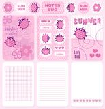 Cards and notes ladybug vector set Royalty Free Stock Photos