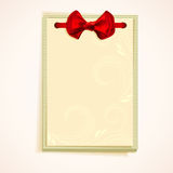 Cards notes with red bow. Royalty Free Stock Image