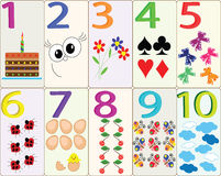 Cards with numbers. 1-10 vector illustration