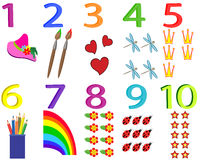 Cards with numbers. 1-10 royalty free illustration