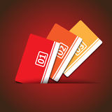 Cards with numbers. On red background stock illustration