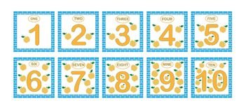 Cards with numbers from 1 to 10, set. Learning numbers, mathematics. Game for children stock illustration
