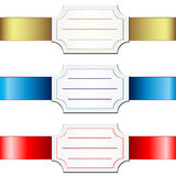 Cards over satin ribbons. Cards over satin ribbons on a white background Stock Image