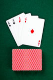 Cards and pack of playing cards. Royalty Free Stock Images