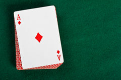 Cards and pack of playing cards. Stock Images