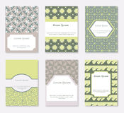 Cards and patterns set. Set of 6 cards with ethnic motives which could be used for save the date, business cards, baby shower, mothers day,  birthday cards Stock Images