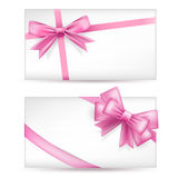 Cards with pink bows Royalty Free Stock Photos