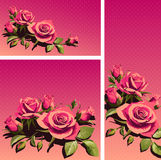 Cards with Pink Flowers Background. Positive Spring Illustrations. Royalty Free Stock Photo