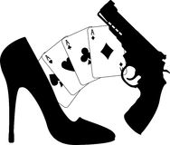 Cards, pistol and women shoe Royalty Free Stock Image