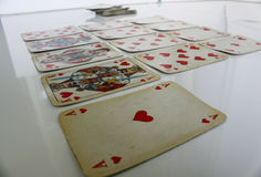 Cards play game fun heart red number Stock Image