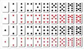 Cards for play from one to ten. Spades, diamond, heart and clubs shape. stock illustration
