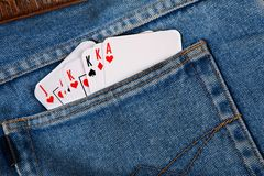 Cards in pocket jeans Royalty Free Stock Photo