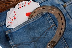Cards in pocket jeans Royalty Free Stock Image