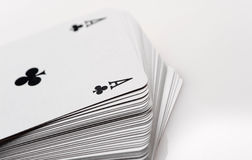 Cards poker. Close up of playing cards poker game on white background royalty free stock images