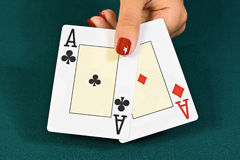 Cards for the poker. Royalty Free Stock Photo